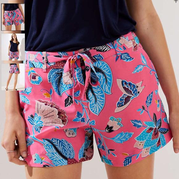 LOFT Pants - NWT LOFT Bloom Tie Waist Fluid Shorts 10